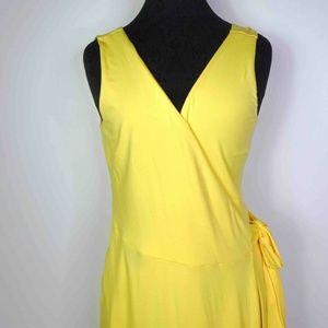 Soft Surroundings Womens Wrap Dress Yellow Midi